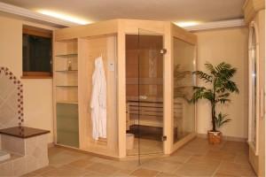 Sauna mit Ganzglastür