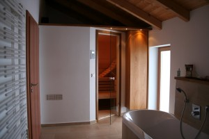 Sauna im Bad mit Gipskartonvorsatz