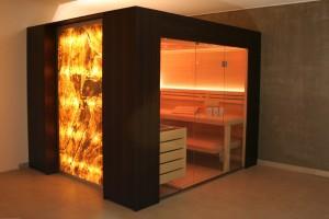 Sauna modern beleuchtet